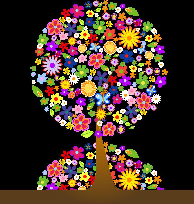 png格式的七彩花素材.